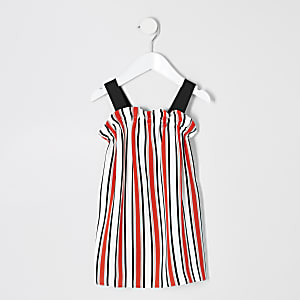 Mini girls coral stripe trapeze dress