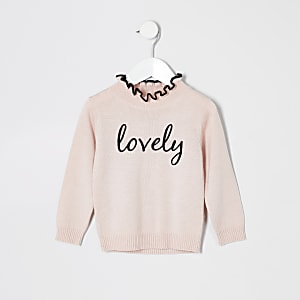 Mini girls pink 'lovely' frill neck jumper
