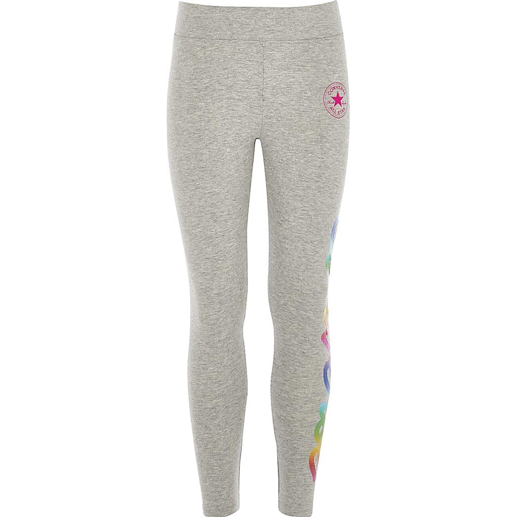 Girls grey Converse logo leggings
