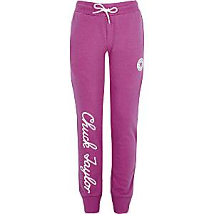 Converse – Pantalon de jogging «Chuck Taylor» rose pour fille