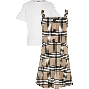 Outfit met bruine geruite overgooier voor meisjes