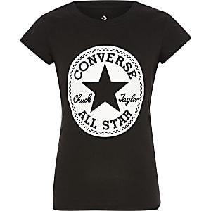 T-shirt met zwart 'Converse' logo voor meisjes