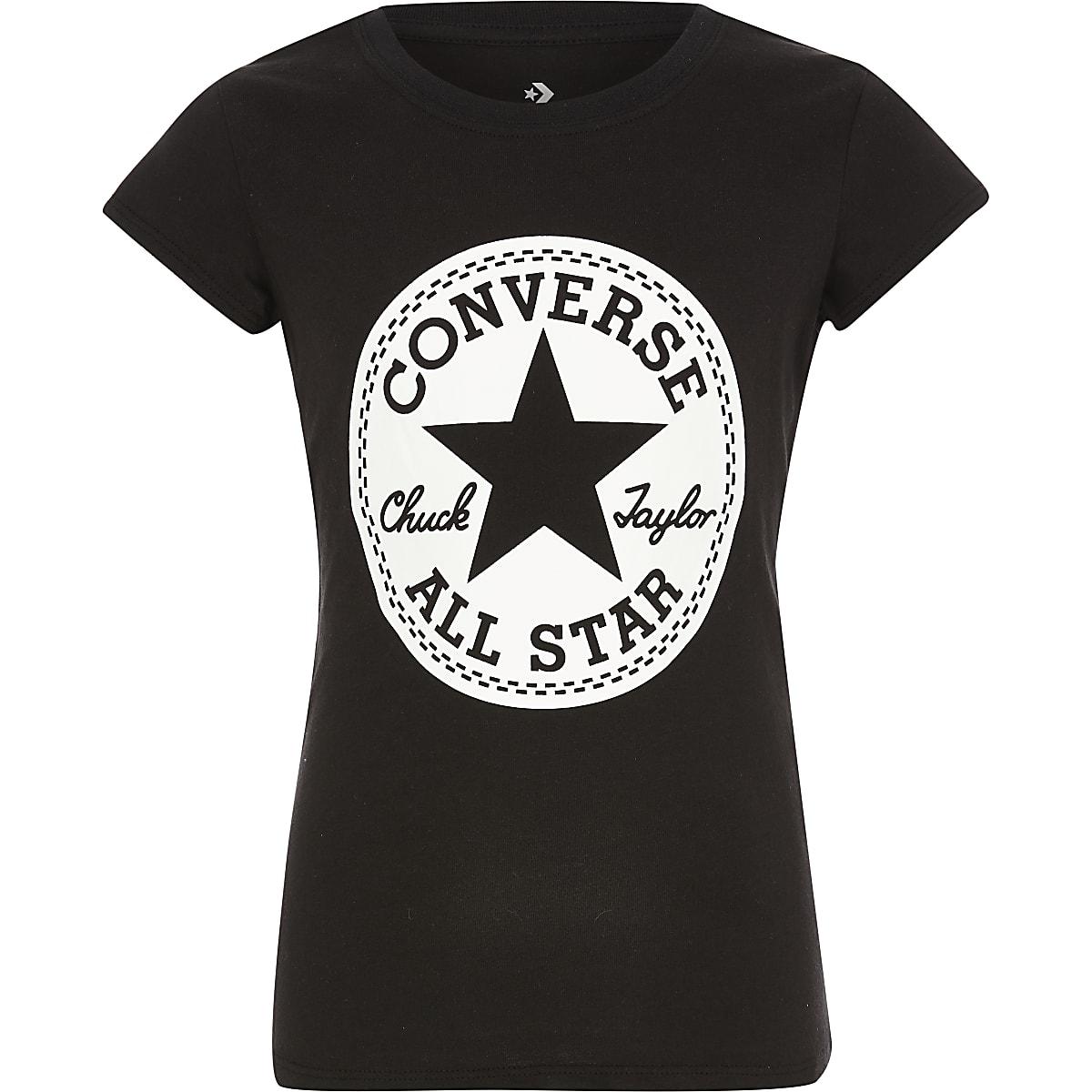 Girls Converse black logo print T-shirt