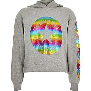 Converse - Grijze hoodie met folieprint voor meisjes