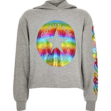 Girls grey Converse foil print hoodie