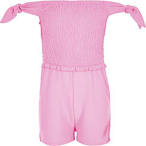 Girls neon pink shirred romper