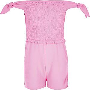 Combi-short froncé rose fluo pour fille
