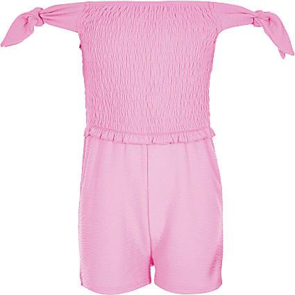Girls neon pink shirred playsuit