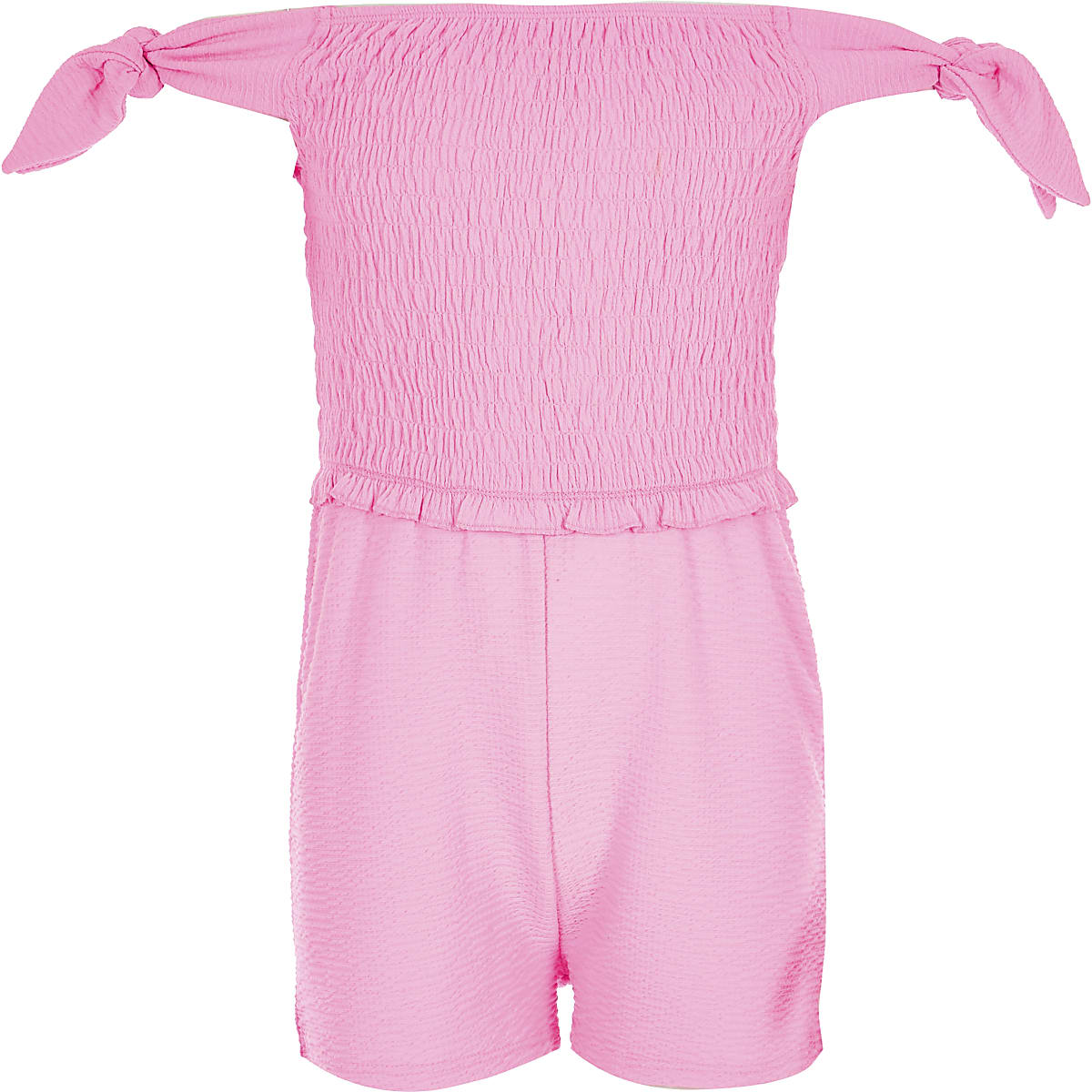 Girls neon pink shirred romper