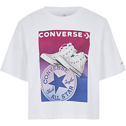 Girls Converse white printed T-shirt