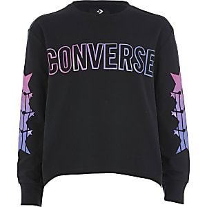 Converse – T-shirt noir à manches longues pour fille
