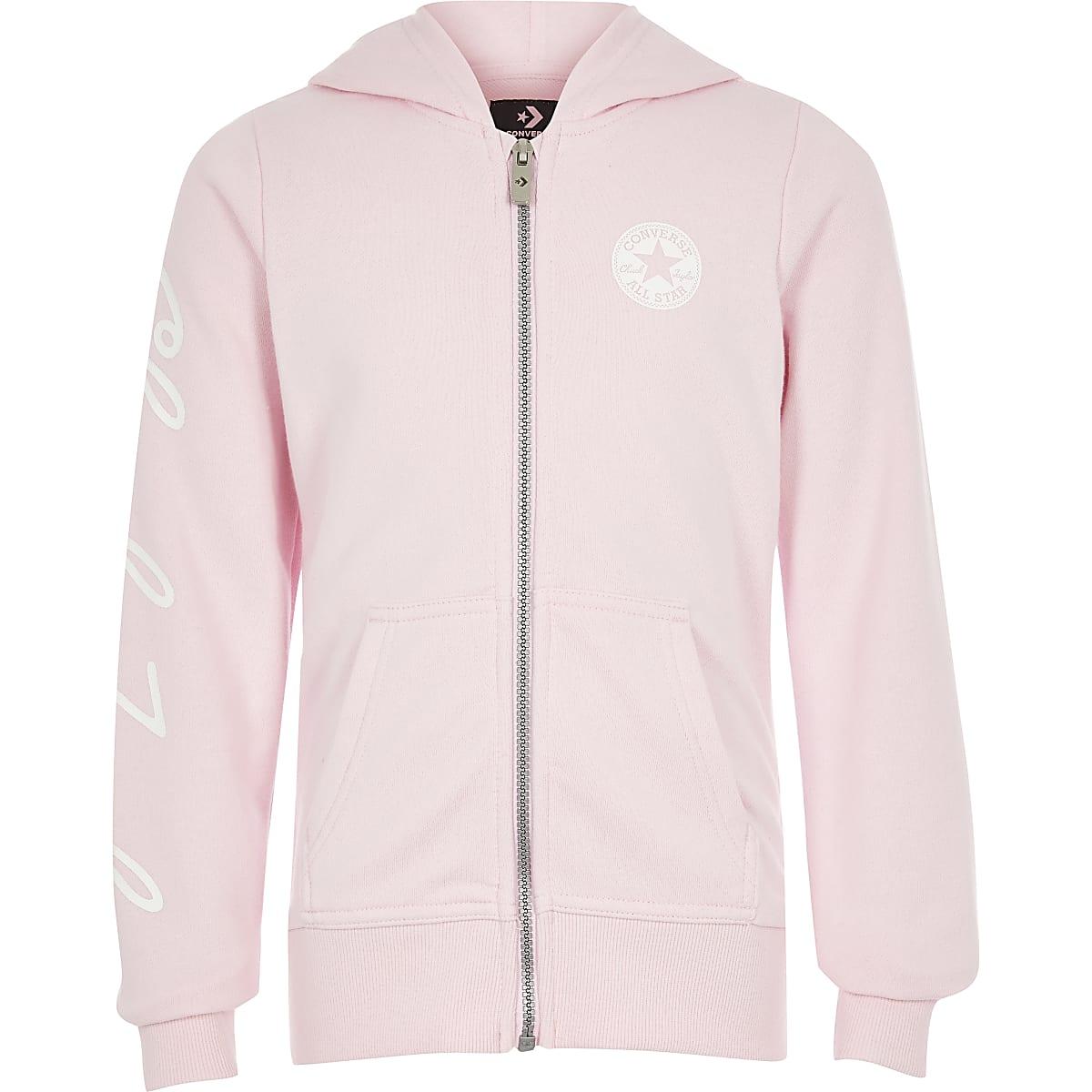 Converse- Roze sweatshirt met rits voor meisjes