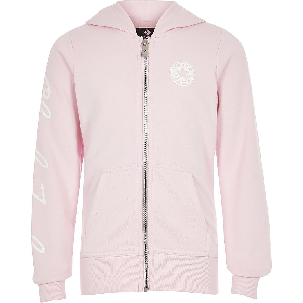Girls Converse pink zip through sweatshirt