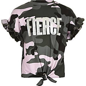 T-shirt camouflage «Fierce» camouflage kaki pour fille