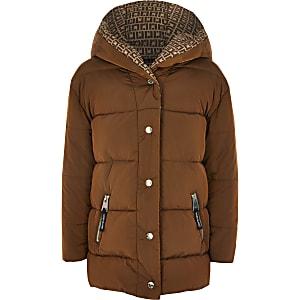 Manteau matelassémarron avec bandes RI pour fille