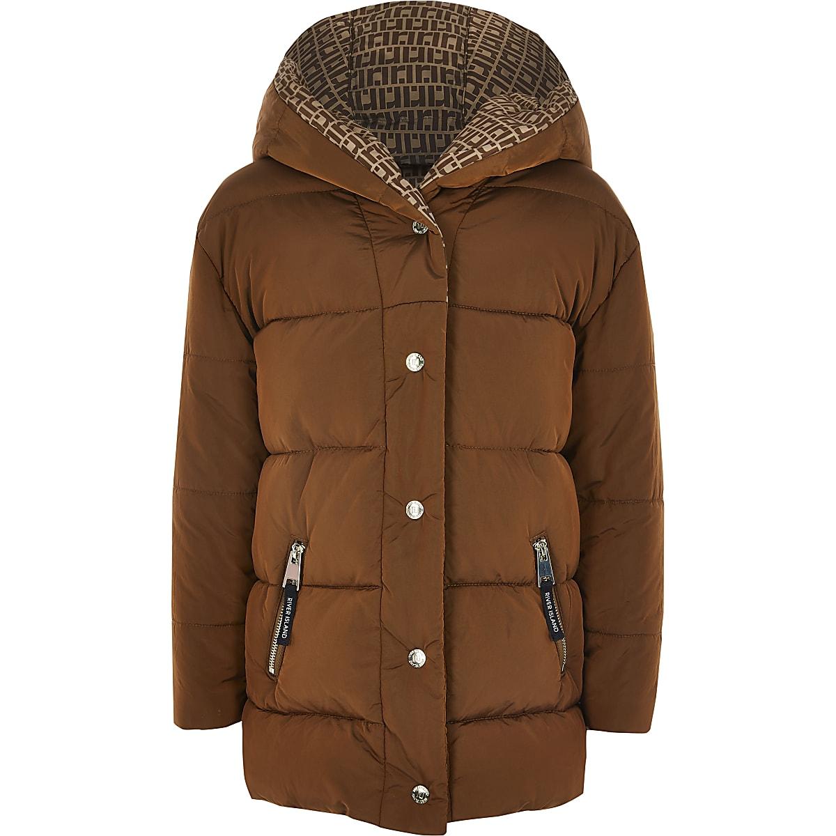Girls brown RI monogram tape padded coat