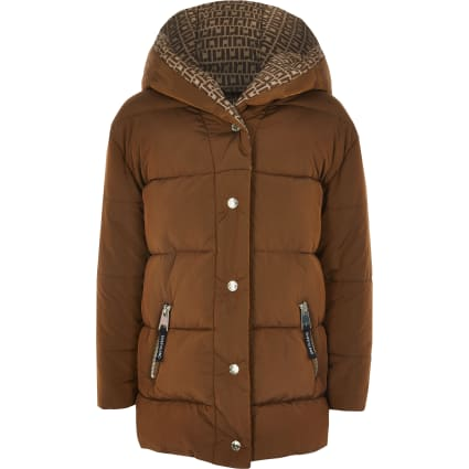 Girls brown RI monogram tape padded coat