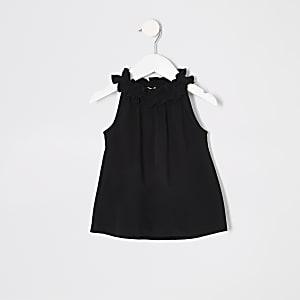 Mini girls black trapeze top