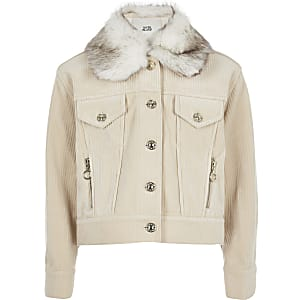 Cremefarbene Trucker-Jacke aus Cord für Mädchen