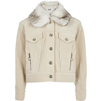 Girls cream cord trucker jacket