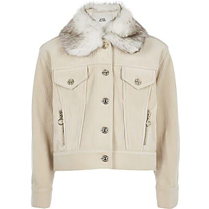 Girls cream cord trucker jacket