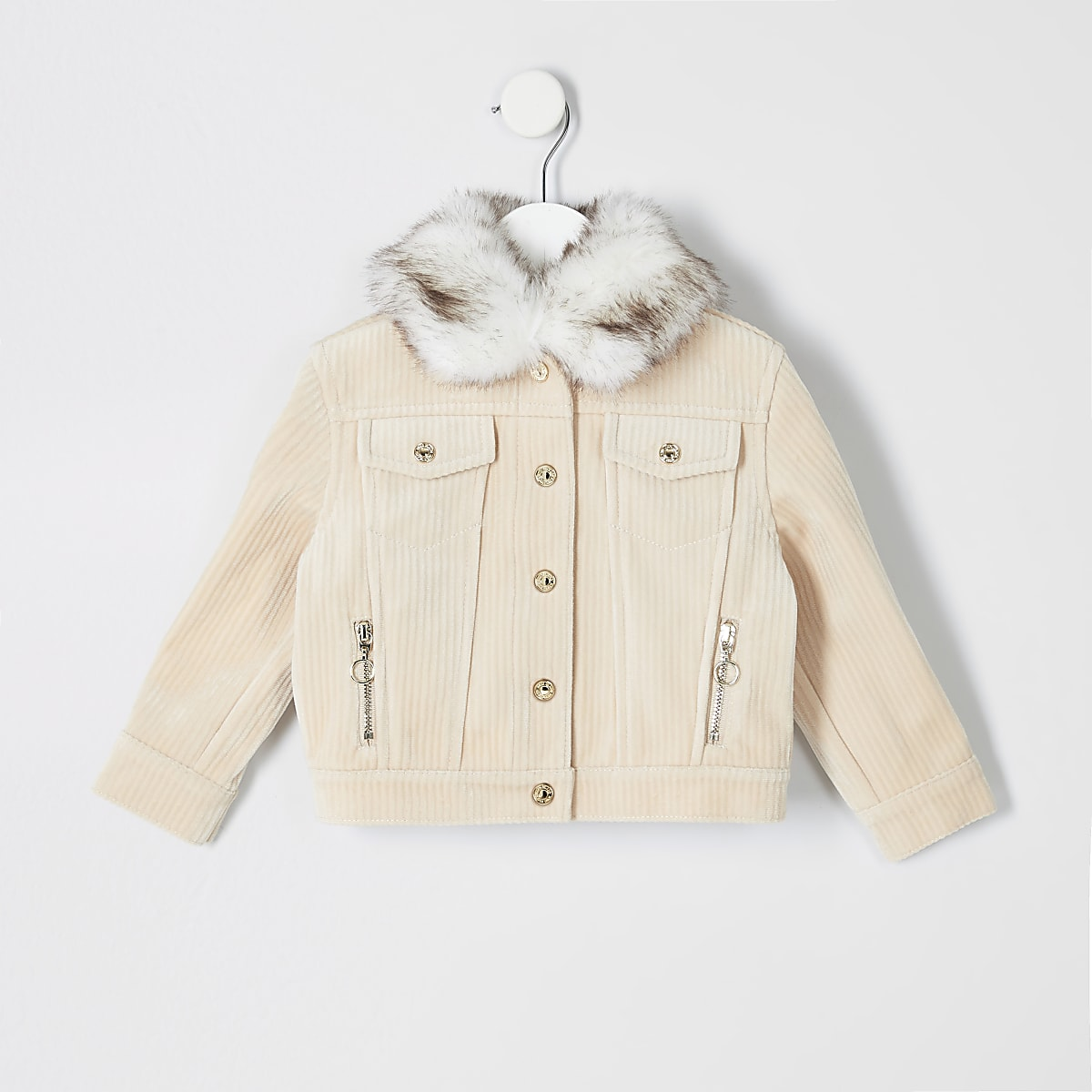 Mini girls cream cord trucker jacket