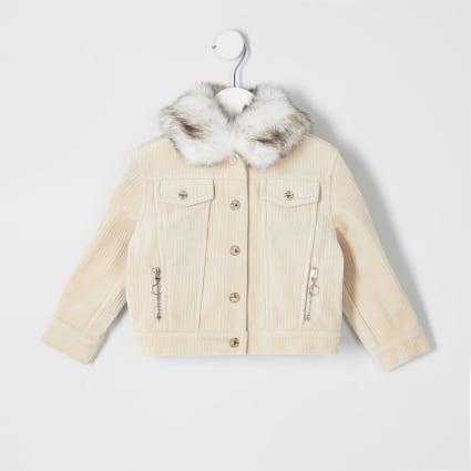 Mini girls cream cord trucker jacket