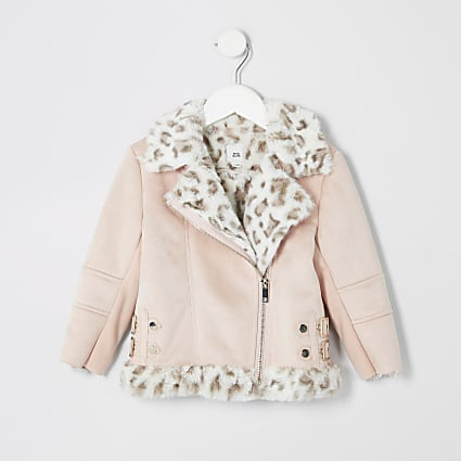 Mini girls pink faux fur aviator jacket