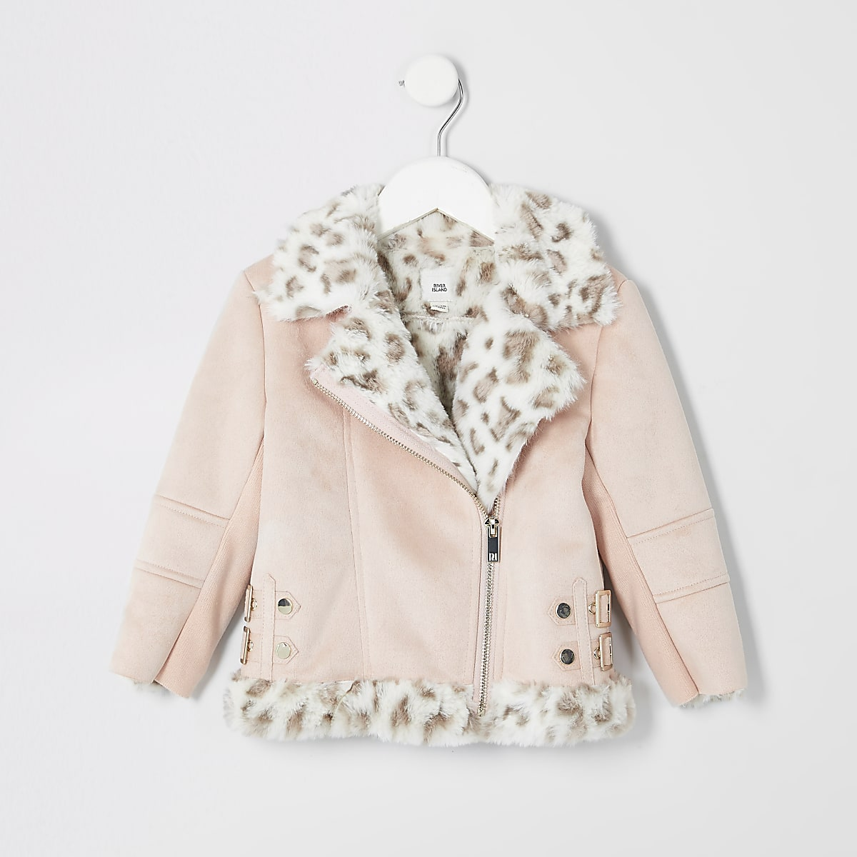 Mini girls pink faux fur aviator jacket