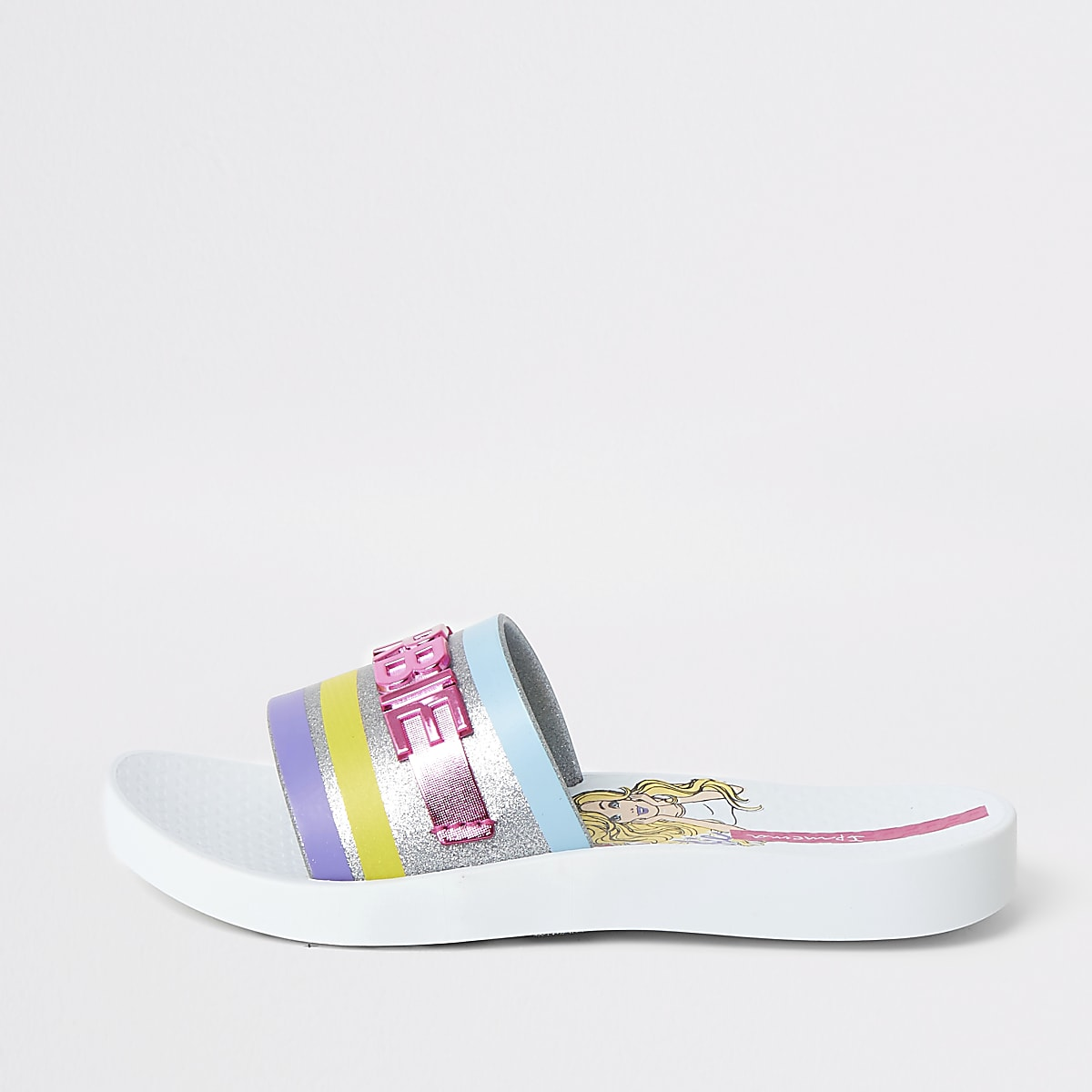 Girls Ipanema Barbie white sliders