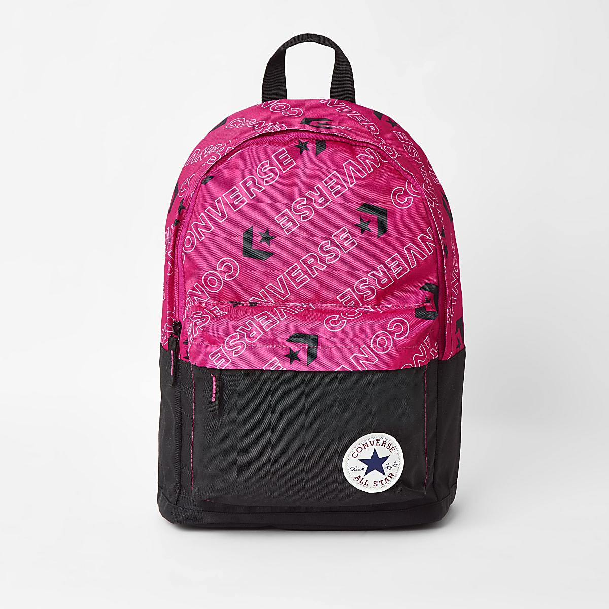 Girls pink Converse logo backpack