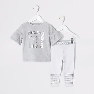 Mini girls grey zebra print legging outfit