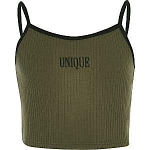 Kaki crop top met 'Unique'-print voor meisjes