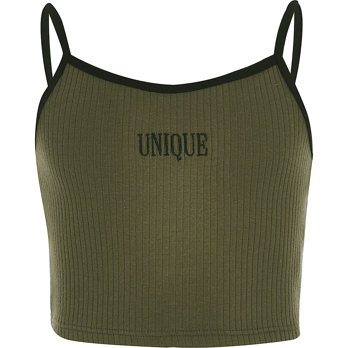Girls khaki 'Unique' crop top