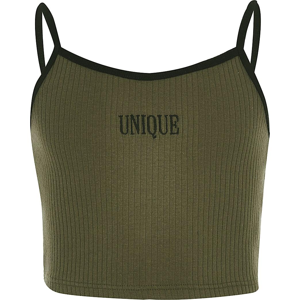 Girls khaki 'Unique' crop top