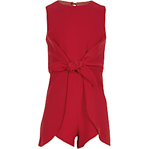 Girls red knot front playsuit