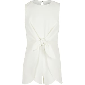 Girls white knot front romper