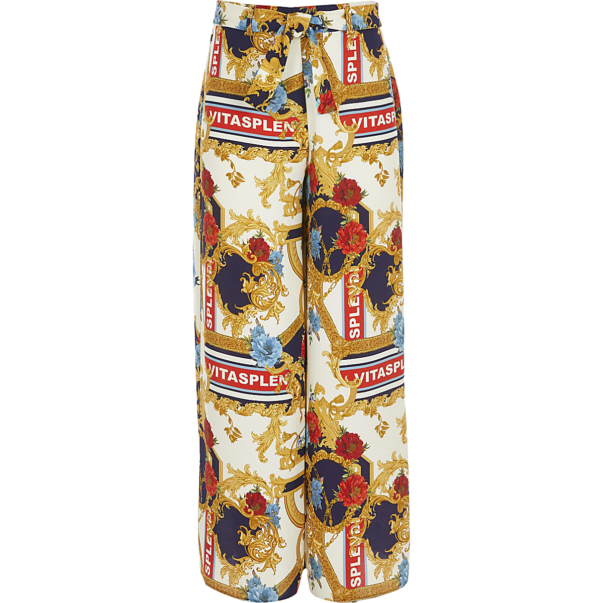 Girls cream scarf print wide leg trousers