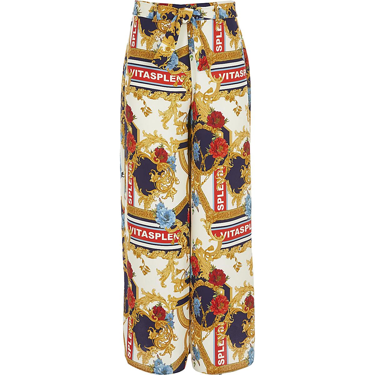Girls cream scarf print wide leg pants