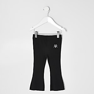 Mini girls black kick flare trousers