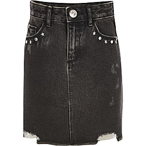 Girls black embellished denim skirt