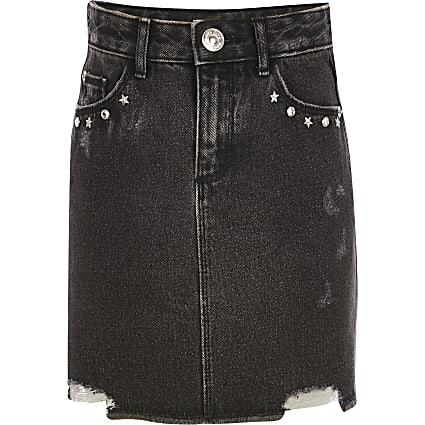 Girls black embellished denim skirt