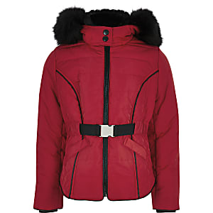 Girls red faux fur hood belted padded coat