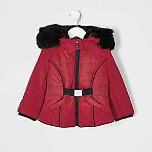 Mini Girls Roter, wattierter Mantel mit Kunstfellkapuze für Mädchen