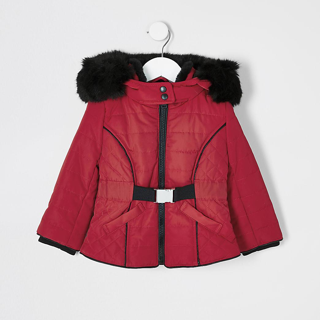 Mini - Rode gewatteerde jas met imitatiebont kraag