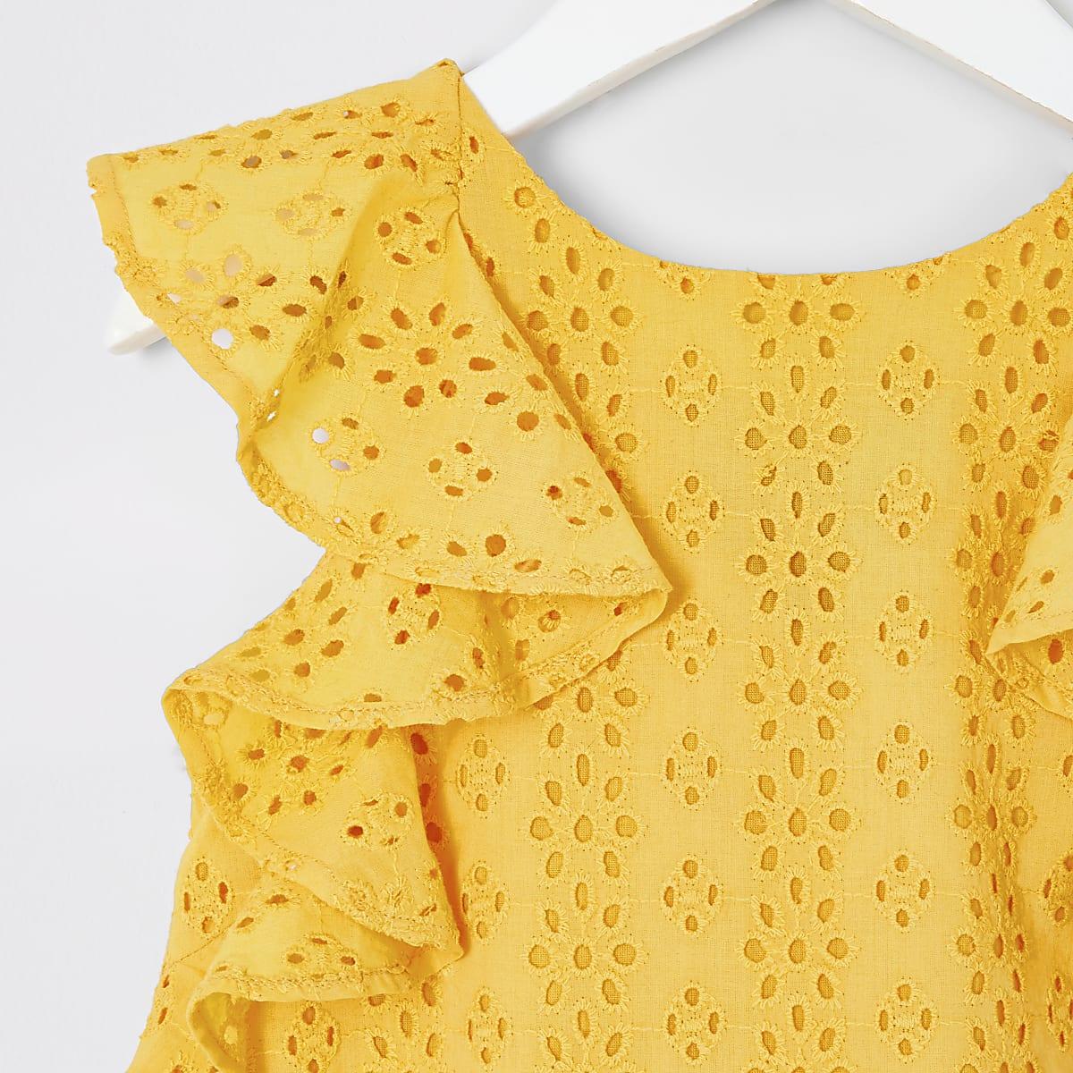 b3193f6bff2cf1 Mini girls yellow broderie trapeze dress - Baby Girls Dresses - Mini ...
