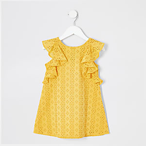 Mini girls yellow broderie trapeze dress
