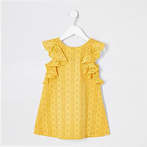 Robe trapèze jaune à broderie anglaise mini fille