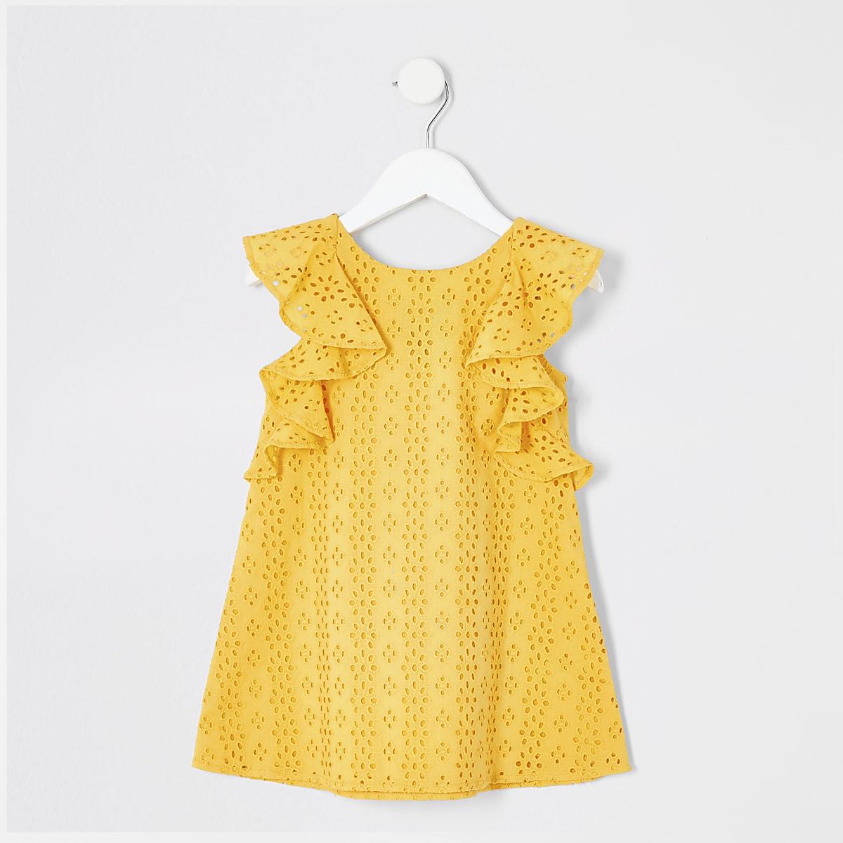 Mini - Gele geborduurde A-lijnjurk voor meisjes