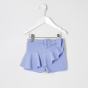 Mini girls blue frill bow shorts